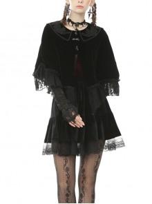 Velvet Splicing Lace Gothic Court Embroidered Lapel Black Cape