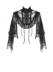 Gothic Black Embroidery Lace Stand Collar Buttons Sexy Short Cape