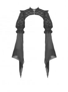 Black Shiny Fabric Puff Long Sleeve Gothic Shoulder Cape