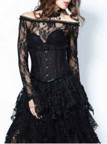 Black Frill Gothic Four Buttons Tying Rope Corset