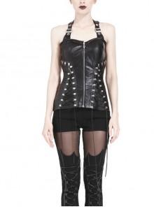 Black Punk Metal D Buckle Side Tie-up Design PU Leather Corset