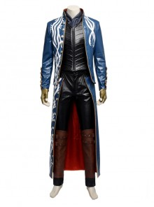 Devil May Cry 3 Virgil Men's Blue Trench Coat Leggings Gloves Suit Cosplay Clothing
