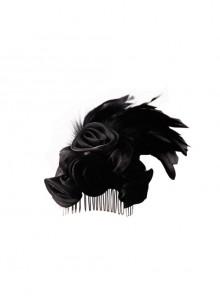 Gothic Gauze Roses Feather Black Hair Plug