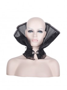 Black Organza Gothic Velveteen Lace Stand-up Collar