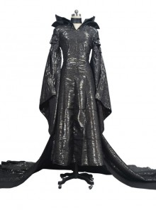 Maleficent Black Long Dress Halloween Cosplay Stage Performance Costume