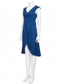 Game Of Thrones Dragon Mother Daenerys Targaryen Blue Sleeveless Dress Cosplay Costume