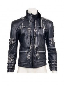 Michael Jackson Black Genuine Leather Jacket Men Cosplay Costume