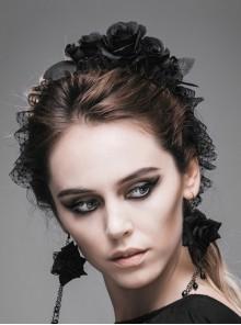 Black Gothic Velvet Handmade Rose Headband