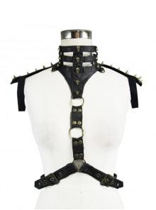 Punk Rivet Decoration Collar Accessory Black Body Harness