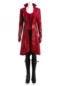 Marvel America Captain 3 Scarlet Witch Red Long Leather Jacket Halloween Cosplay Costume Full Set