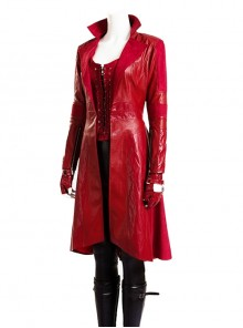 Marvel America Captain 3 Scarlet Witch Halloween Cosplay Red Long Leather Jacket