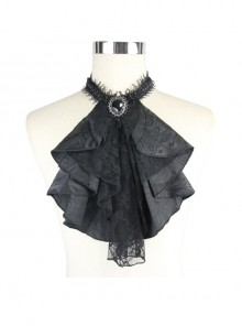 Gothic Black Jacquard Lace Jewel Pins Tie