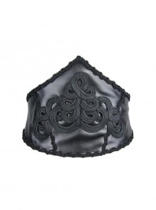 Gothic Adjustable Black Hand-embroidery Leather Corset