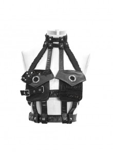 Punk Black Washed Leather Asymmetrical Mesh Pocket Distressed  Adjustable Collar