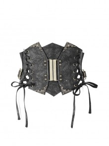 Black Steampunk Adjustable Slim Curly Grain Texture Composite Leather Corset