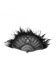 Gothic Non-foldable Rivet Decorative Feather Black Fan