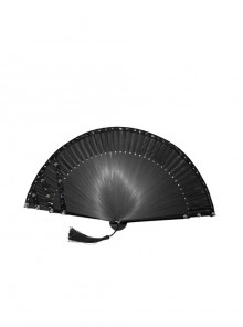 Non-foldable Bright Leather Edging Black Asymmetric Punk Rivet Fan