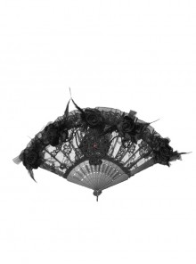 Non-foldable Black Gothic Lace Beaded Fan