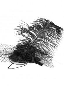 Black Gothic Light Gauze Detachable Feather Small Top Hair Clip