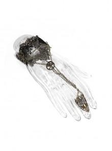 Black Steampunk Lace Adjustable Chain Bracelet