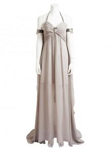 Game Of Thrones Dragon Mother Daenerys Targaryen Cosplay Costume Gray Halter Long Dress