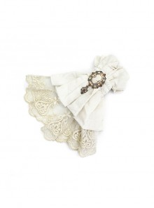 White Steampunk Dark Jacquard Lace Bow Tie