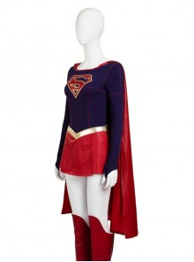 Supergirl Kara Zor-El Halloween Cosplay Costume Red Cloak
