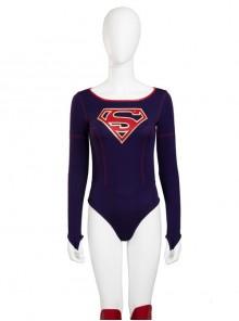 Supergirl Kara Zor-El Halloween Cosplay Costume Navy Blue Bodysuit