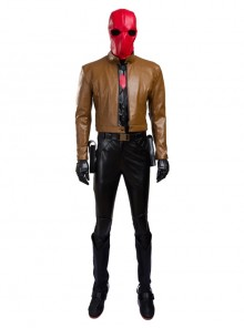 Batman Red Hood Jason Todd Brown Jacket Set Halloween Cosplay Costume