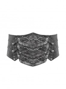 Silver Punk Metal Nail Decoration Non-Elastic Adjustable Leather Armor Belts