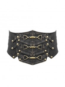 Bronze Punk Metal Nail Decoration Non-Elastic Adjustable Leather Armor Belts