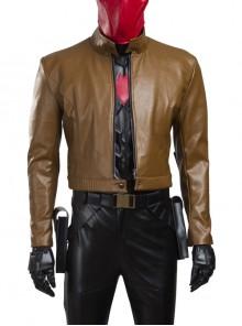 Batman Red Hood Jason Todd Halloween Cosplay Costume Brown Short Jacket