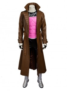 X-Men Gambit Remy LeBeau Halloween Cosplay Costume Brown Long Windbreaker Full Set
