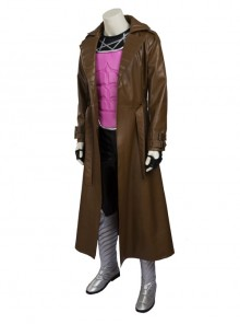 X-Men Gambit Remy LeBeau Halloween Cosplay Costume Brown Windbreaker