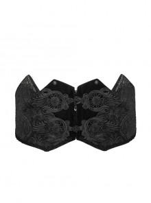 Black Adjustable Three-Dimensional Jacquard Gothic Belts