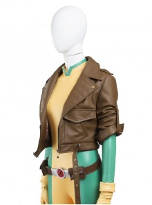 X-Men Rogue Anna Marie Halloween Cosplay Costume Brown Short Jacket
