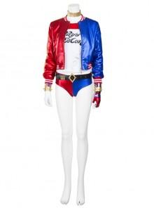 Suicide Squad Harley Quinn Halloween Cosplay Costume Red Blue Baseball Uniform Full Set