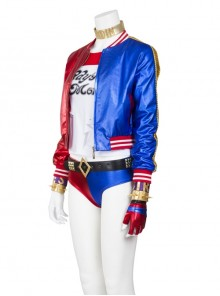 Suicide Squad Harley Quinn Halloween Cosplay Costume Red Blue Baseball Short Jacket