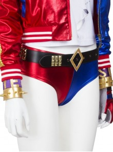 Suicide Squad Harley Quinn Halloween Cosplay Costume Red Blue Shorts