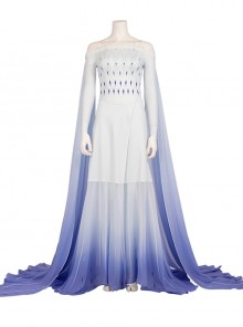 Frozen II Elsa Halloween Same Cosplay Off Shoulder Light Blue Purple Gradient Dress