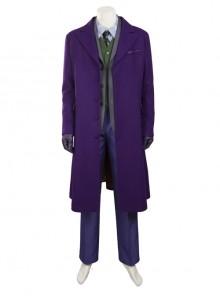 Batman The Dark Knight The Joker Halloween Cosplay Costume Purple Woolen Long Coat Set