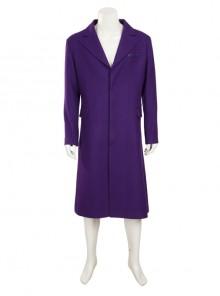 Batman The Dark Knight The Joker Halloween Cosplay Costume Purple Woolen Long Coat