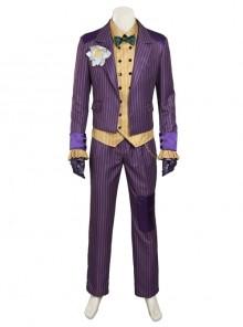 Game Batman Arkham Knight The Joker Cosplay Costume Purple Vertical Stripe Suit Full Set