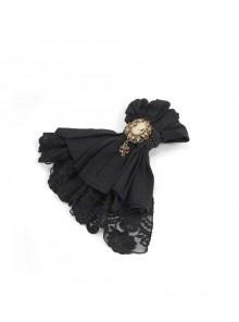 Black Gothic Fringe Jacquard Cotton Linen Lace Hem Bow Tie