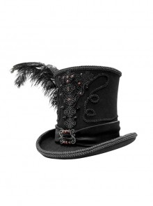 Black Gothic Red Glass Diamonds Decoration Lace Ribbon Felted Wool Feather Top Hats
