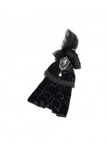 Black Gothic Feather Delicate Brooches Decorated Embossed Velvet Bow Tie