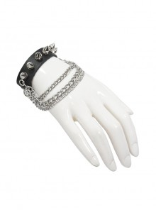 Adjustable Black Punk Different Thicknesses Chain Decorated Nailed Leather Bracelet