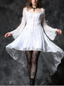 White Off-Shoulder Button Row High Waisted Dovetail Lace Gothic Dress