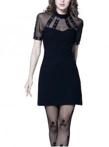 Black Corns Row Straps Chiffon Sexy Gothic Tee Dress
