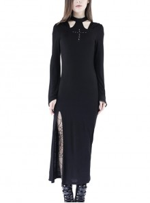 Black Hollow Cross Long Knitted Hooded Tight Gothic Dress